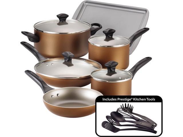 Farberware Dishwasher Safe Nonstick 15-Piece Cookware Set, Copper photo