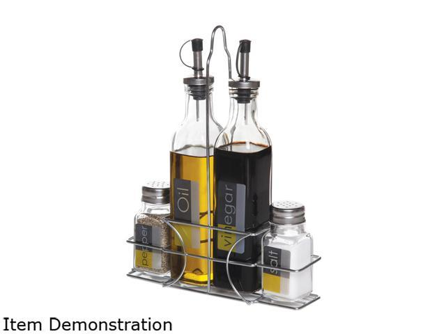 Gibson Overseas General Store 4 Piece Glass Condiment Set with Wire Caddy photo