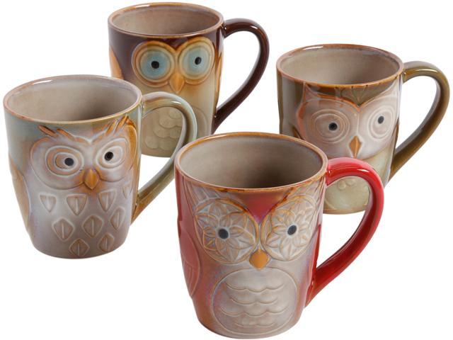 Gibson Home 85223.01 Night Owls 4 Pack 17oz Mugs, Assorted Colors photo