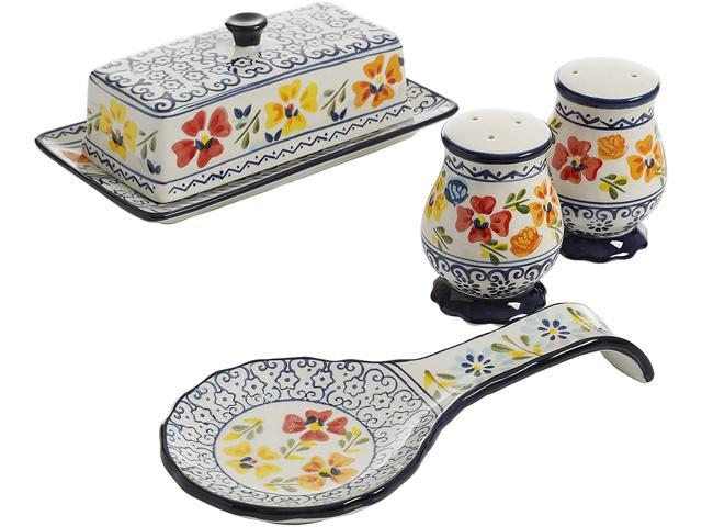 Gibson Elite 120875.04 Luxembourg 4 pc Ceramic Accessory Set Hand Painted Stoneware photo