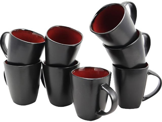 Gibson Elite 79419.01 Soho Lounge 8-Piece 12 oz. Mug Set, Red photo
