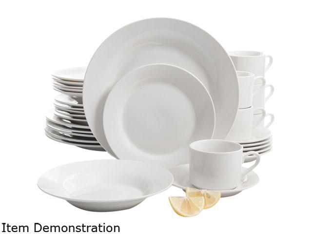 Gibson Overseas 66032.30 Rosendal 30 Piece Dinnerware Set, White photo