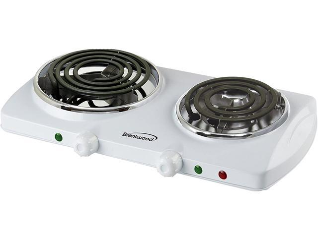 Brentwood Appliances 1500w Double Electric Burner, White TS-368W photo