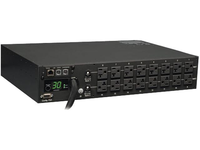 Tripp Lite Monitored PDU, 30A, 16 Outlets (5-15/20R), 120V, L5-30P, 10 ft. Cord, 2U Rack-Mount Power (PDUMNH30)