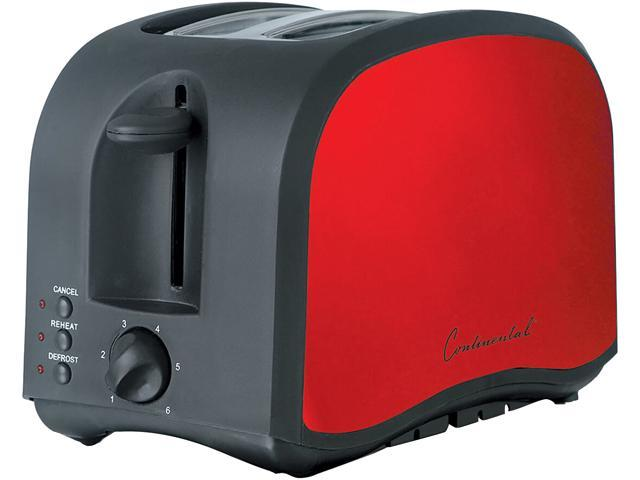 Continental Electric America 2-Slice Metallic Toaster, Black & Red CM43435 photo