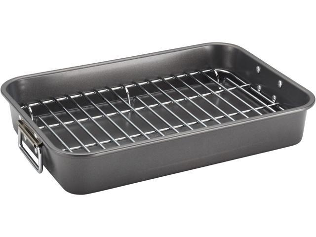 Farberware Nonstick Bakeware 57026 11-Inch x 15-Inch Roaster with Flat Rack, Gray photo