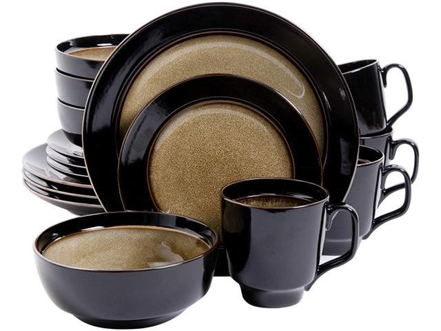 Gibson Elite Bella Galleria 16 Piece Dinnerware Set, Taupe photo