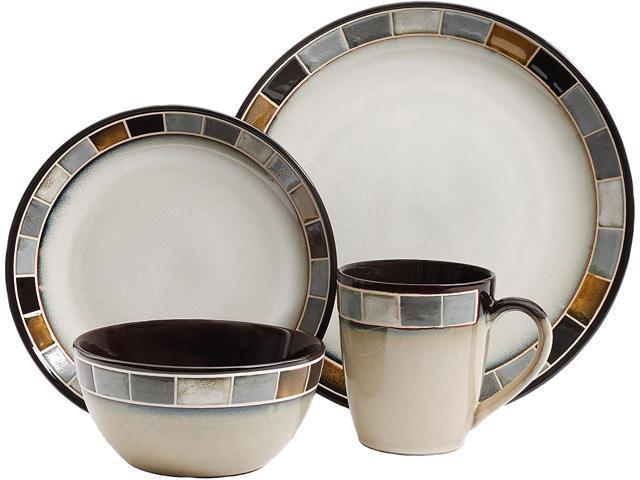 Gibson Elite Casa Gris Reactive Glaze 16 Piece Dinnerware Set - Cream and Grey photo