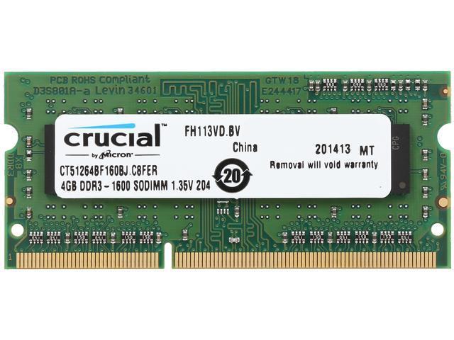 Crucial 4GB 204-Pin DDR3 SO-DIMM DDR3L 1600 (PC3L 12800) Laptop Memory Model CT51264BF160BJ