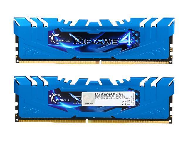 Memory Kit Model F4-3000C15Q-16GRBB 288-Pin DDR4 SDRAM DDR4 3000 PC4 24000 G.SKILL Ripjaws 4 Series 16GB 4 x 4GB