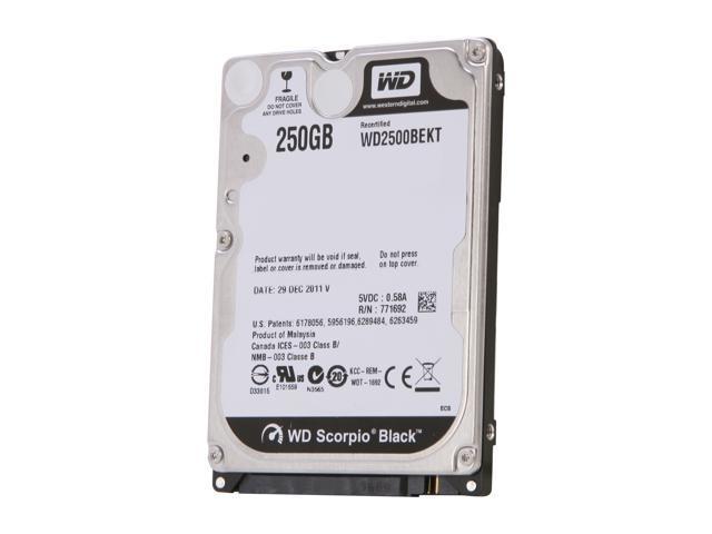 Recertified - WD Scorpio Black WD2500BEKT 250GB 7200 RPM 16MB Cache SATA 3.0Gb/s 2.5' Internal Notebook Hard Drive Bare Drive