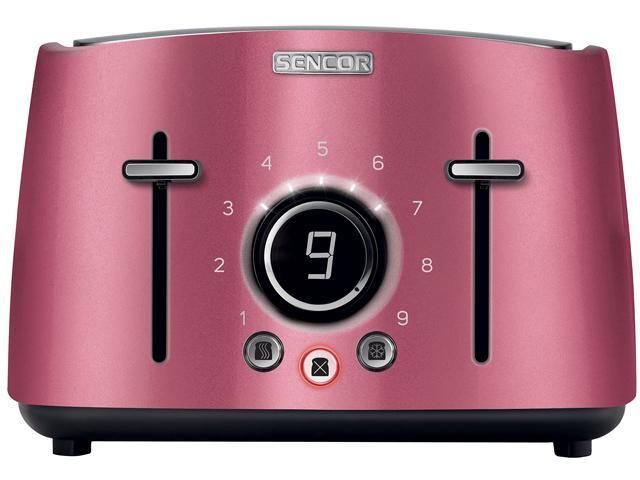Sencor STS 6074RD Electric Wide 4 Slice High Lift Toaster w/ Rack, Metallic Red photo