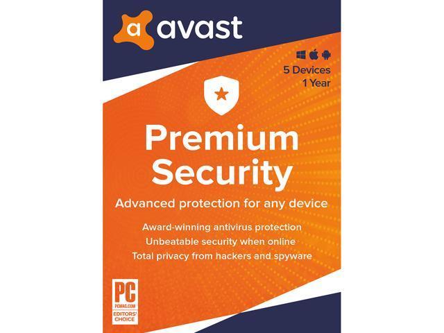 Avast Premium 2020, 5 Devices 1 Year Key Card - Newegg.com