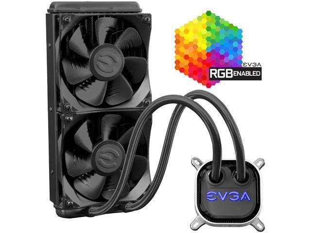 EVGA CLC 240mm All-In-One RGB LED CPU Liquid Cooler, 2x FX12 120mm PWM Fans, Intel, AMD, 400-HY-CL24-V1