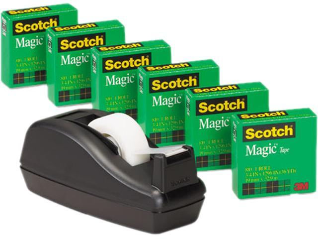 Scotch 810C40BK C40 Desk Tape Dispenser and 6 Rolls Scotch Magic Tape, 1' Core, Black photo