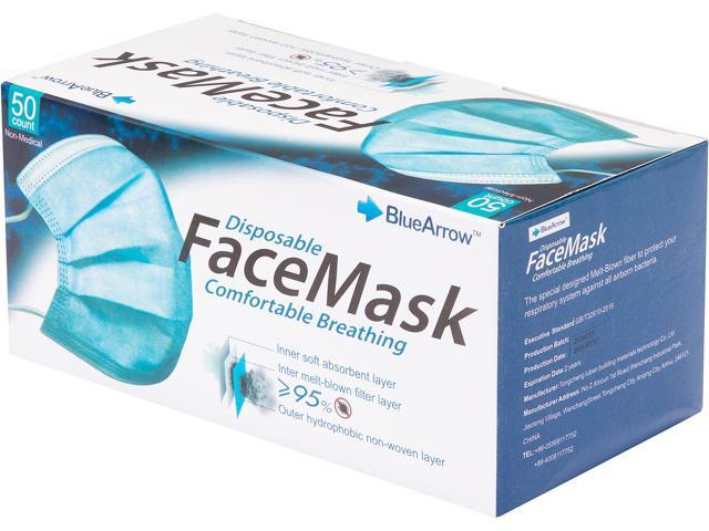 Blue Arrow Disposable Face Mask in Black Color, Size: 6.10' x 4.13', 50 pcs per Box