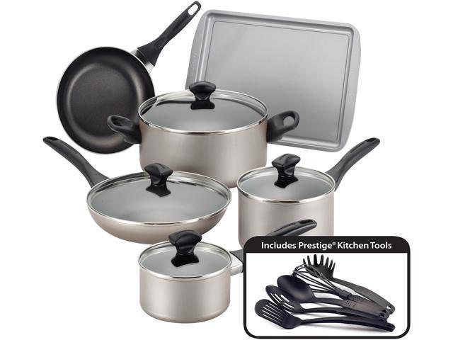 Farberware Dishwasher Safe Nonstick 15-Piece Cookware Set, Champagne photo
