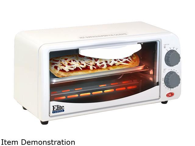 Elite Cuisine ETO-113 2 Slice Toaster Oven with Broiler & Timer, White photo