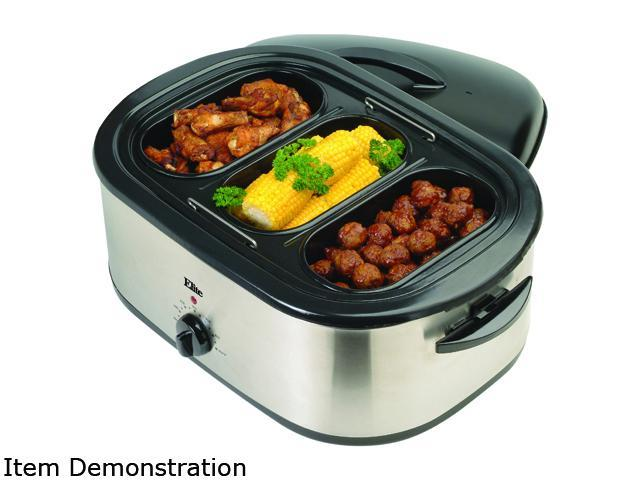 Elite ERO-210B Stainless Steel 18-Quart Roaster Oven w/ buffet server and removable pot photo