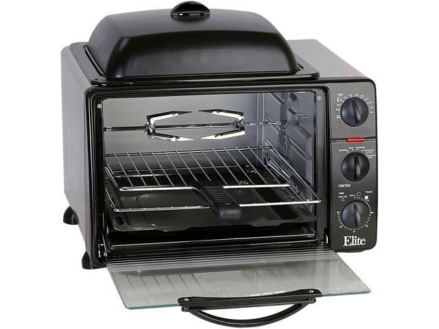 Elite ERO-2008SC Black 6 slice toaster oven w/ rotisserie & grill/griddle top & convection photo