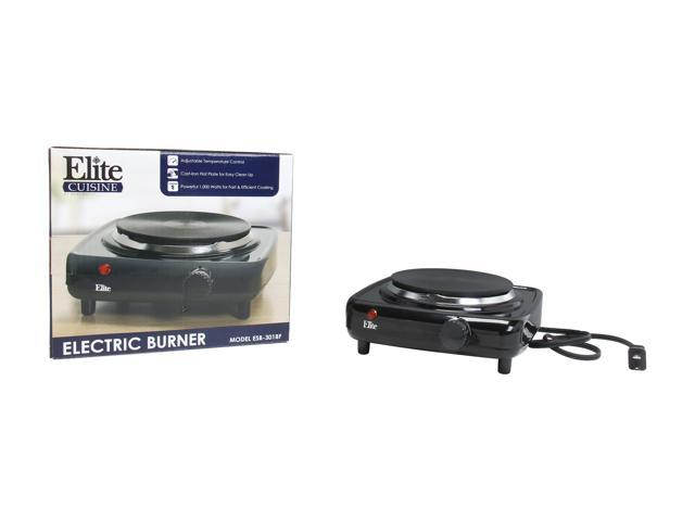 Elite Cuisine ESB-301BF Single Cast Electric Burner Hot Plate, Black photo