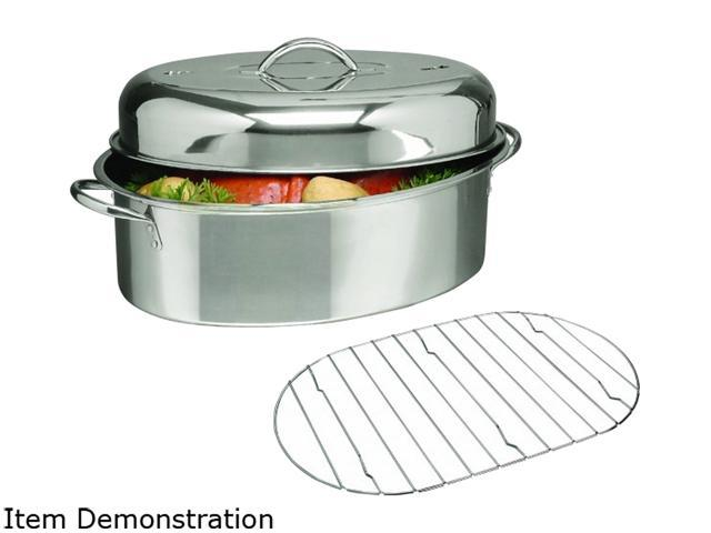 Gibson Home 64207.02 Stainless Steel 16' Oval Roaster w Lid Rack photo