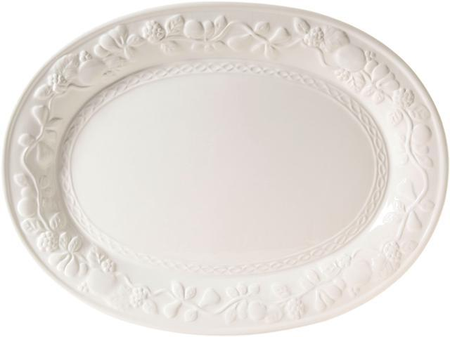 Gibson Home 2021.01 Fruitful 18.75in Oval Platter, White photo