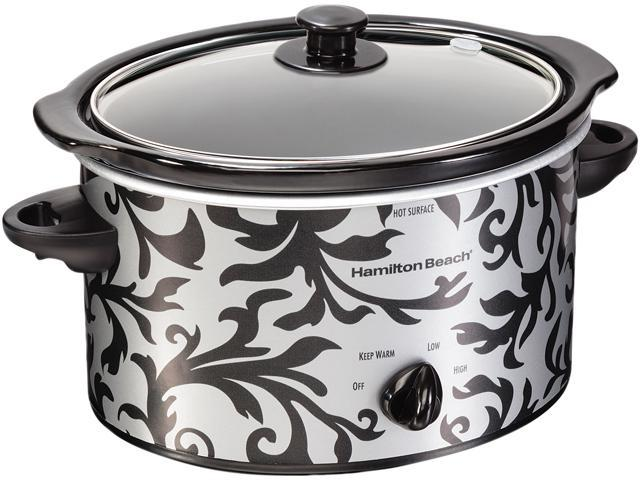 Hamilton Beach 3 Quart Oval Slow Cooker, Damask Pattern 33237 photo