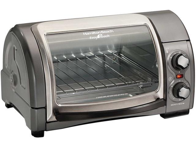 Hamilton Beach 31334D Easy Reach Toaster Oven with Roll-Top Door, Gray photo