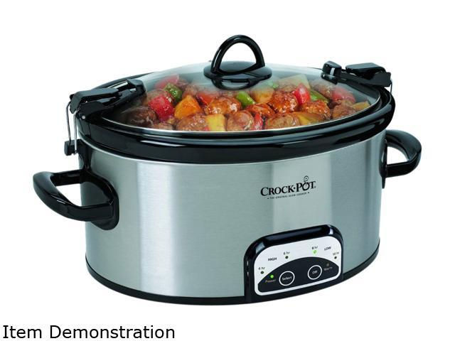 CROCK-POT SCCPVL605-S-A Stainless Steel 6-Quart Programmable Cook and Carry Oval Slow Cooker photo