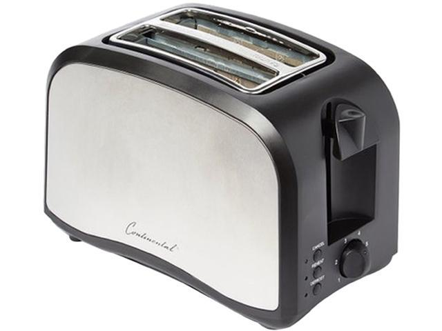 Continental Electric 2-Slice Extra Wide Slot Toaster, Stainless Steel & Black CP43439 photo