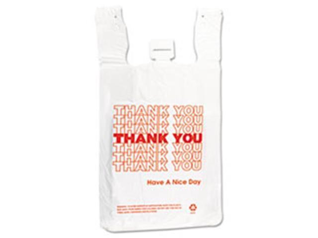 Inteplast Group THW2VAL 12 x 7 x 13 in. 14 Microns T-Shirt Thank You Bag - White photo