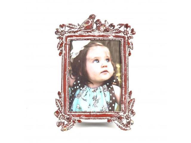 Hi-Line Gift LCD-024 Vintage Style, Metal Photo Frame with Birds Figurine - Burgundy (Home & Garden Decor Picture Frames) photo