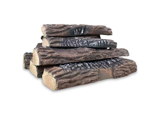 Gibson Living 10 Piece Set of Ceramic Wood Large Gas Fireplace Logs for All Types of Indoor, Gas Inserts, Ventless & Vent Free, Propane, Gel. photo