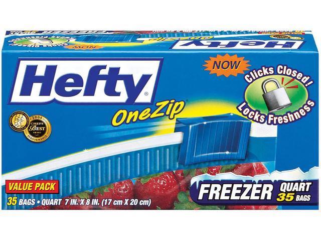 Hefty One Zip Slider Bags Freezer 1qt 2.5 mil Clear 35/Box R82235 photo