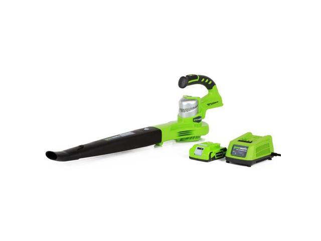Greenworks Dual Speed Cordless 24V 130 MPH Leaf Blower with Battery 24352 (841821011871 Home & Garden Lawn & Garden) photo