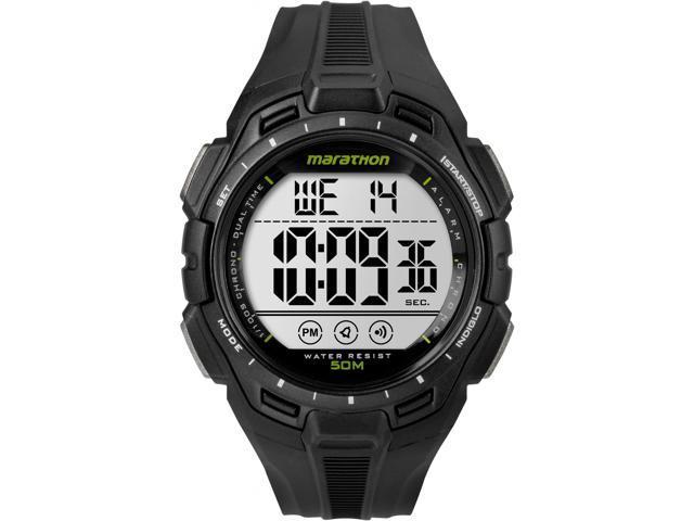Timex Men Marathon 24-Hour Stopwatch Two-Time Zones Black Sport TW5K94800