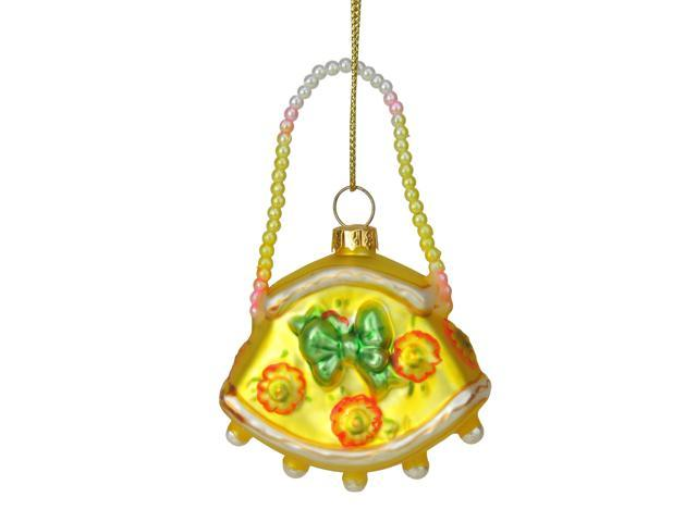 3' Yellow and Green Floral Glass Stylish Lady Purse Handbag Christmas Ornament (086131090615 Home & Garden Decor) photo