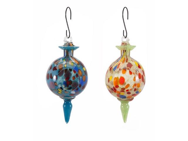 Set of 2 Blue and Green Handcrafted Artisan Glass Hanging Bird Feeders 12.25' (784185476934 Home & Garden Lawn & Garden Outdoor Living) photo