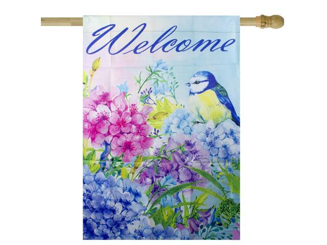 Blue and Purple Welcome Bird Outdoor House Flag 28' x 40' (191296298834 Home & Garden Decor Flags & Windsocks) photo