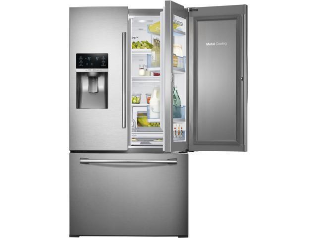 27.8 cu. ft. French Door Refrigerator with 5 Spillproof Glass Shelves, Food ShowCase Fridge Door, Metal Cooling, External Ice/Water Dispenser, photo