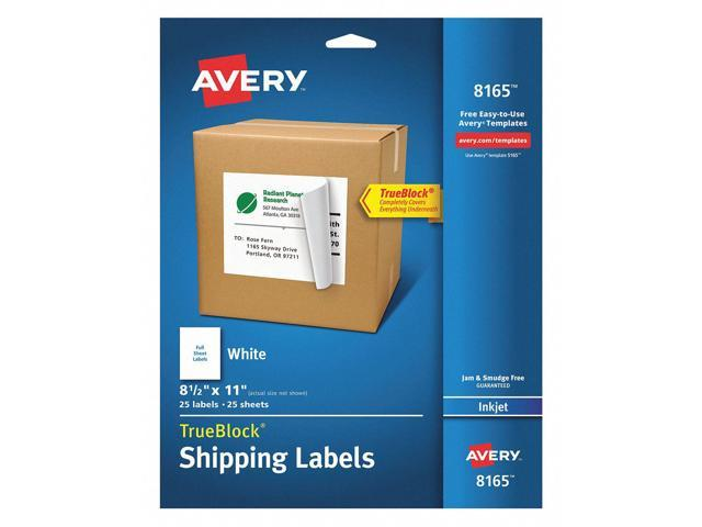 White Removable Inkjet//Laser ID Labels 8-1//2 x 11 25//Pack