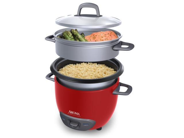 AROMA ARC-743-1NGR 3 Cups (Uncooked)/6 Cups (Cooked) Pot-Style Rice Cooker and Food Steamer, Red photo