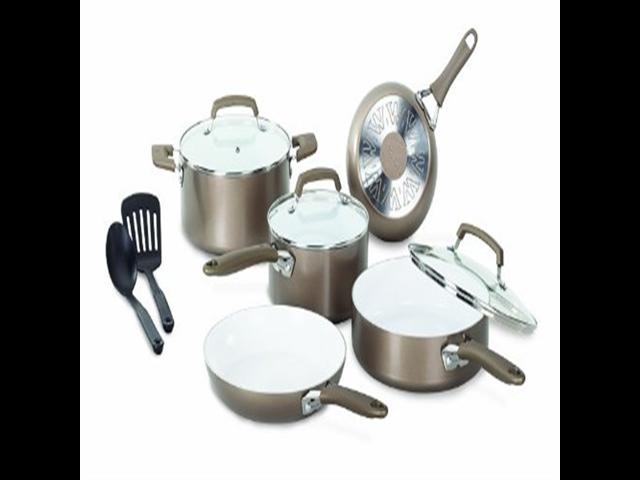 WearEver C944SA Pure Living Nonstick Ceramic Coating PTFE-PFOA-Cadmium Free Dishwasher Safe Oven Safe Cookware Set, 10-Piece, Gold photo