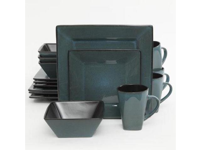 Gibson Home Elite Kiesling Square 16 Piece Dinnerware Set - Blue photo