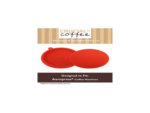 Travel Cap Lid / Brewing Grip Fits Aerobie Aeropress Coffee & Espresso Maker, Red Silicone Designed & Engineered by Crucial Coffee - Travel smart. photo