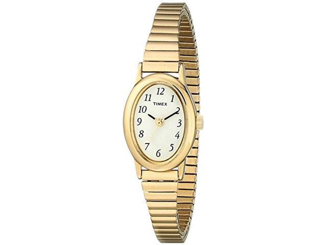Timex Women's Gold-Tone Expansion Band & Oval Case Dress Watch T21872