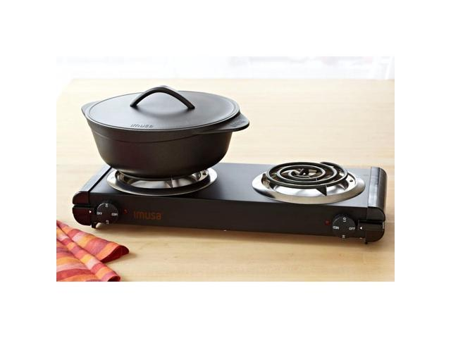 IMUSA GAU-80306 Black Electric Double Burner photo
