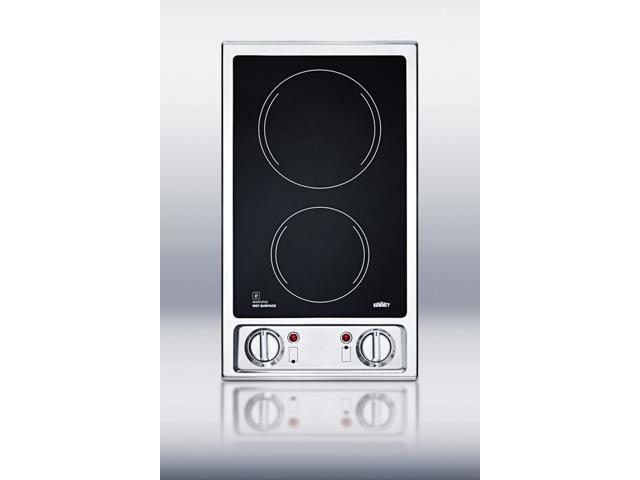 Summit CR2B120: 2-burner 120V electric cooktop with smooth black ceramic glass surface photo
