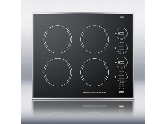 Summit CR424BL: 24' wide 4-burner electric cooktop in smooth black ceramic glass finish photo